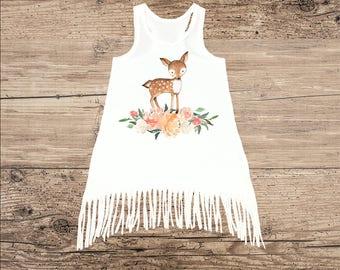 Deer Dress for Baby, Toddler Dress, Fringe Tank Top Dress