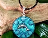 Turquoise Orgone Pendant - Dolphin - Spiritual Gift, Harmony, Balance, Energy Healing Jewellery - Medium