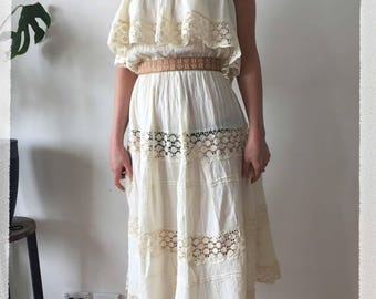 Vintage clothing - boho 1970's cream frilled dress (beach wedding dress?) with lace inserts - SM-MED