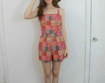 Vintage 50s red patchwork print playsuit romper, small