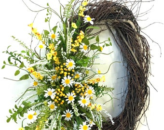 Daisy Wreath, Summer Wreath, Spring Wreath, Wedding Wreath, Summer Door Décor, Summer Floral, Daisies, Birch Wreath, Spring Door Decor