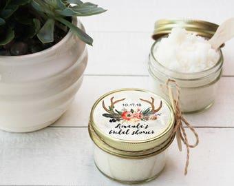 Set of 12- 4 oz - Sugar Scrub Favors - All-Natural, Vegan - Antler Bridal Shower Label | Boho Bridal Shower Favor | Boho Baby Shower Favor