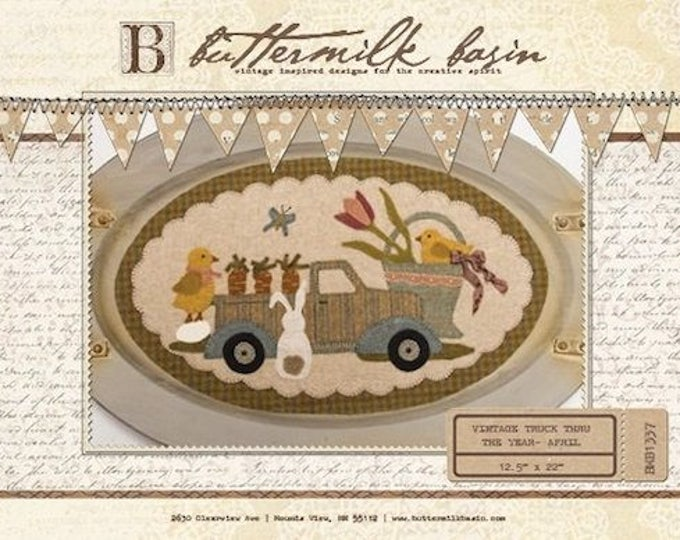 """Featured listing image: Pattern: Vintage Truck Thru the Year - April """"Bunny, Chicks, Carrots & More"""" by Buttermilk Basin"""