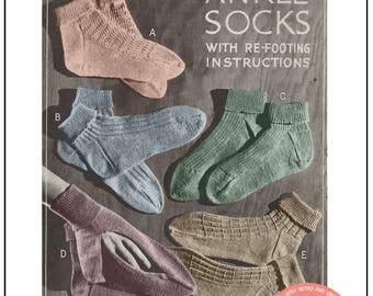 1940s Sock Vintage Knitting Pattern - PDF Knitting Pattern - Instant Download