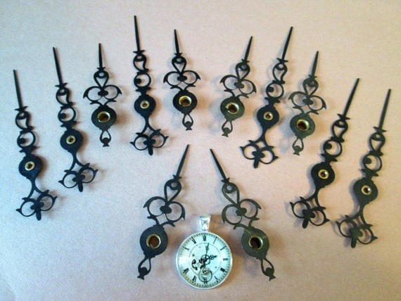 6 Pairs of Vintage Black Steel Vienna Style Clock Hands for your Clock Projects, Steampunk Art, Jewelry Making and etc...
