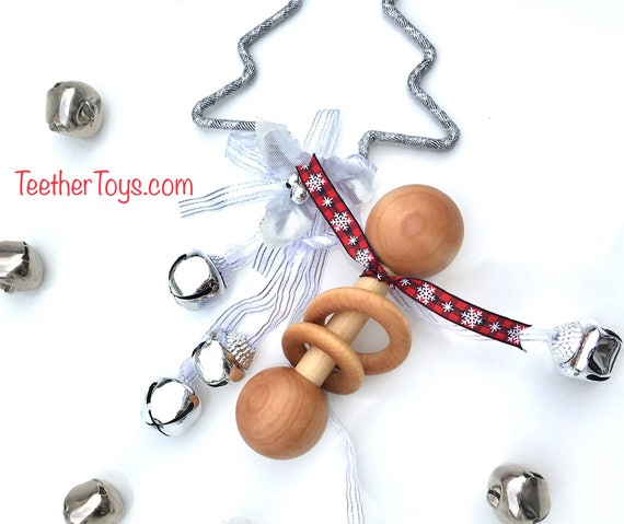 TOM-TOM TEETHER™ - Winter Snowflake - Wooden Rattle - Newborn Teether - Teething Toy - Early Learning - Preemie Toy - Organic Teether