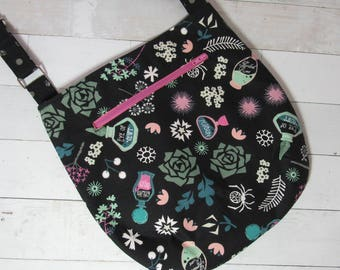 Cross Body Purse with Adjustable Strap in Gothic Witchcraft / Spells / Potions / Poison Bottle Fabric, Skulls, Roses, Witch - One of a Kind!