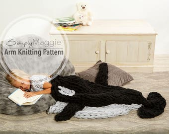 Arm Knitting Pattern // Orca Whale Blanket  // Knit Tail Blanket // Advanced Pattern // Animal Blanket // Child's Blanket // Simply Maggie