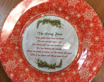 Decoupage and Handpainted Glass Giving Plate