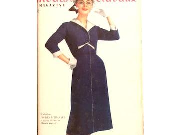 Modes & Travaux, Vintage French fashion magazine,  1957 fashion news