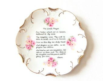 Vintage white with 18K gold trim decorative plate - wall hanging  - The Lord's Prayer / made in Japan