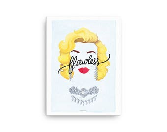 CANVAS Flawless Marilyn Monroe Poster, Calligraphy Print, Minimalist Illustration, Music Art Print, Typography Print, Queen B Gift for Her