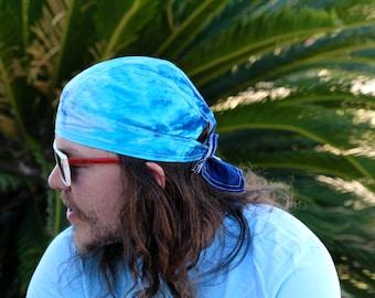 Tie Dye Doo Rag, Biker Head Wrap, Blue Trippy Hippie Skullcap