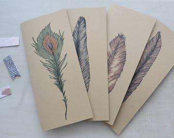 Blank Card Set - Blank Feather Card Set - Blank Greeting Card Set