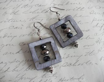 Grey and black square earrings with crystals