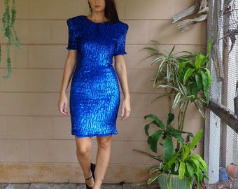 Vintage Sequin Dress / Body Con Dress / Royal Blue / Small 1980's