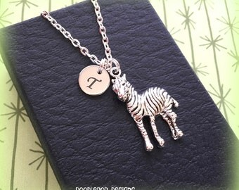 Initial zebra necklace - Zebra charm jewellery - Personalised zebra gift - African animal jewellery - Zebra jewellery - Initial necklace
