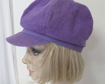 Mod Cap Mod Hat Newsboy Cap Purple Corduroy