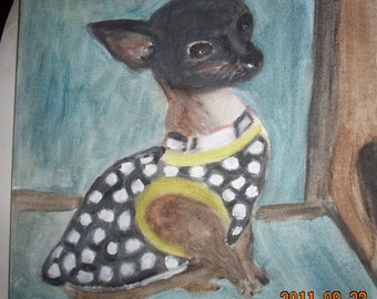 bonito is a minature chihuahua oil on canvas