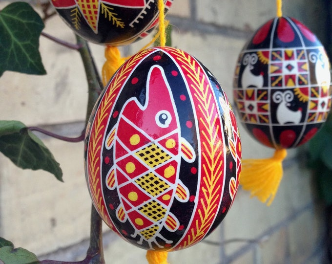 "3pcs set of Ukrainian Pysankas: ""Holly Ram"", ""Fish"" and ""Star"""