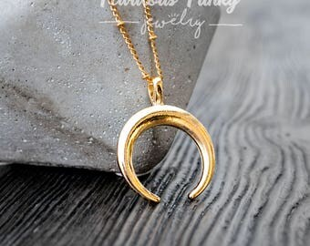 Golden Crescent Crescent Necklace