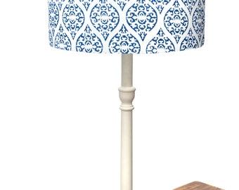 Block printed Indian fabric lampshade
