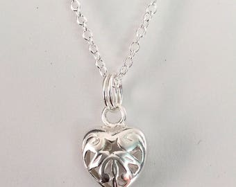 Sterling Silver Filigree Heart Charm - Small Heart Charm Necklace - Little Sterling Puffy Filigree Heart