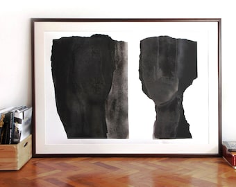 Oversized Abstract Modern Art, Black and White Extra Large Wall Art, Poster Size Artwork up to 60x42