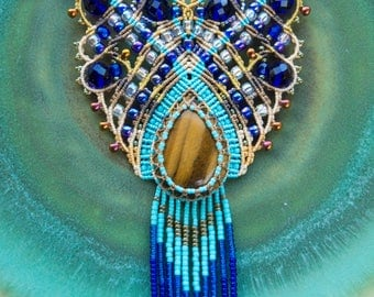 Fringe macrame necklace, tiger's eye gemstone, unique, micro-macrame jewelry, statement necklace, beaded, tassel, blue turquoise sand, India
