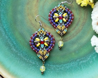 Bohemian macrame earrings, boho chic, gypsy, beaded, long, dangle, micro-macrame jewelry, beadwork, beadwoven, yellow purple red, colorful
