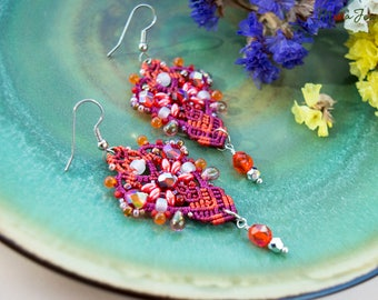 Bright beaded earrings, orange red, elegant, boho chic, micro-macrame jewelry, beadwork, beadwoven, dressy, cocktail, special occasion