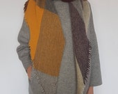 Shawl DN003 / Handmade Weaving on the Loom / Scarf / Warm Shawl / 100% Natural Wool / Gift Idea