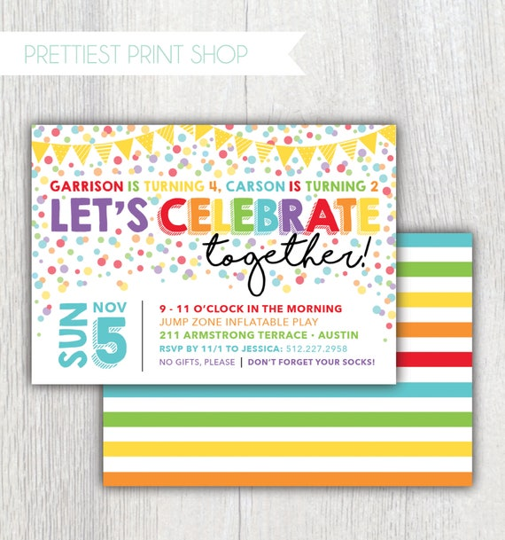 Printable Joint Birthday Party Invitations ~ Printable rainbow confetti birthday invitation joint party let s celebrate together
