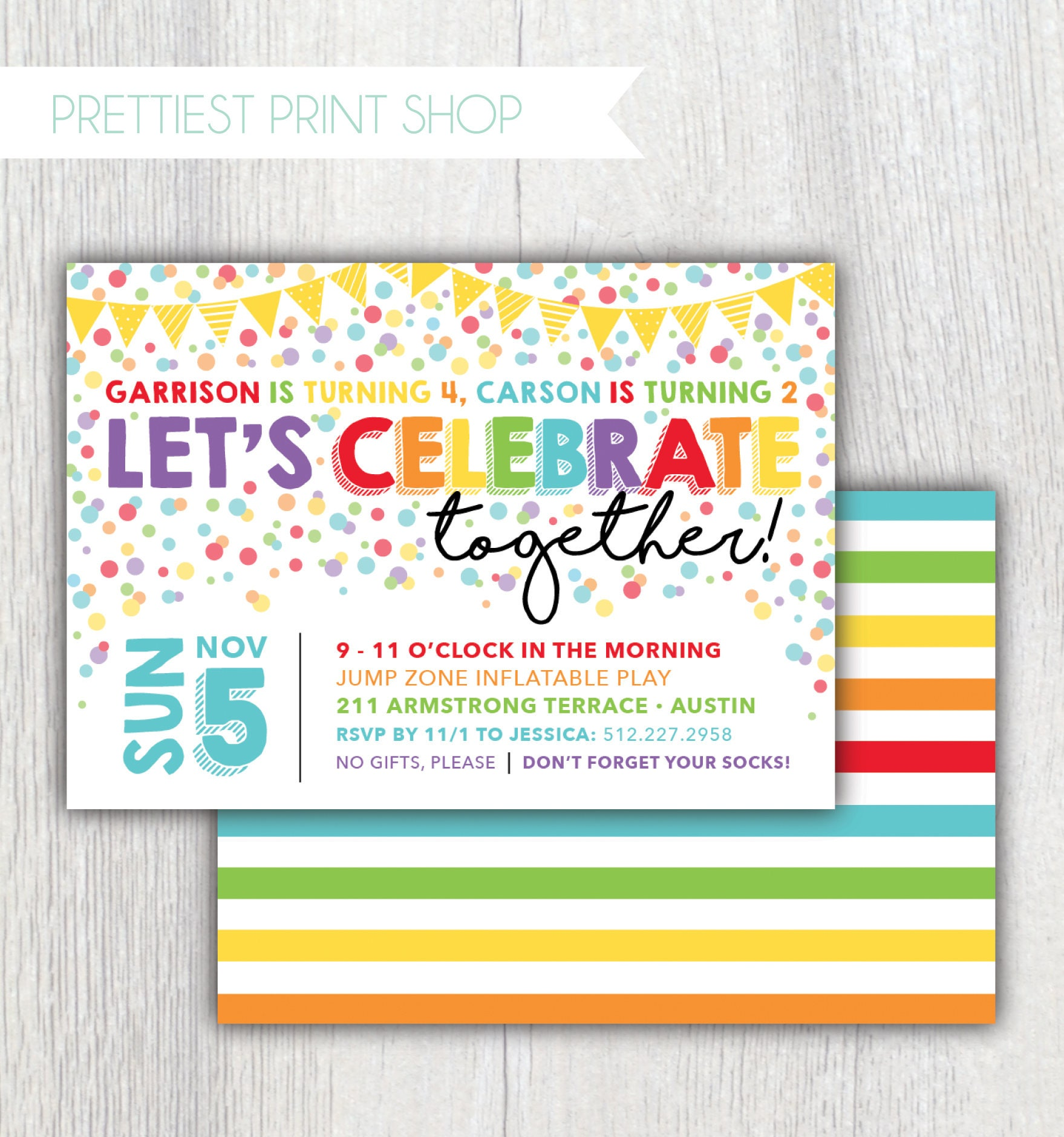 Printable rainbow confetti birthday invitation joint birthday printable rainbow confetti birthday invitation joint birthday party lets celebrate together sibling birthday filmwisefo