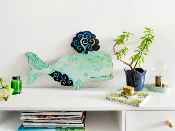 Whale art decor by Kimberly Hodges, whale painting, whale nursery, whale art, whale print, wood wall art, whale art for baby, nursery