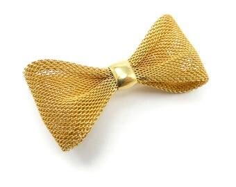 Vintage Mesh Bow Brooch, Ribbon