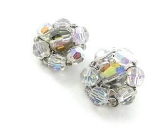 Vintage Glass Cluster Earrings, Aurora Borealis, Smokey Center, Clip Ons