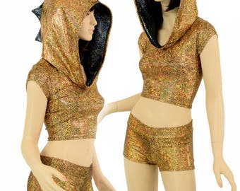 2PC Gold/Black Shattered Glass Dragon Cap Sleeve Crop Hoodie & Low Rise Shorts Set w/Black Shattered Glass Hood Liner and Spikes Set -155051