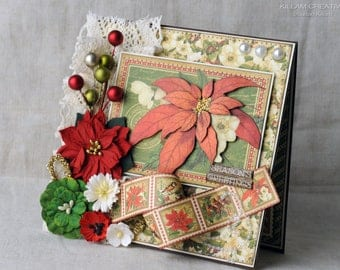 Poinsettia Christmas Greeting Card, Christmas Card, Keepsake Card, Graphic 45, Handmade Card, Layered Card