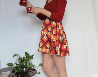 Burgundy skater dress and mustard