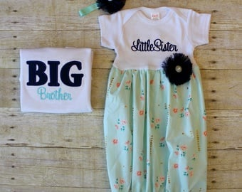 Big Brother Little Sister Outfits - Mint & Navy - Newborn Gown - Going Home Outfit - Baby Shower Gift