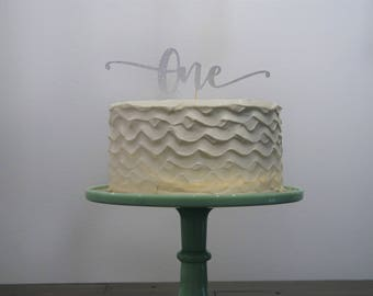 First Birthday ONE Cake Topper Silver