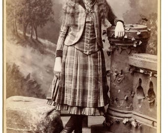 Beautiful Cabinet card of of well dressed young girl in a plaid dress and Button Up Victorian Women's Boots
