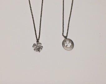 clover necklace, silver clover necklace, clover pendant, clover jewelry, clover, four leaf clover, four clover necklace, four clover