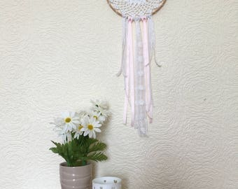 White & pink dreamcatcher, wall hanging, wall decor