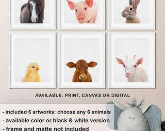 Farm animal prints, Farmhouse nursery, Horse Pig Bunny Chick Calf Goat Nursery farm animals, Animal nursery prints Print/Canvas/Digital