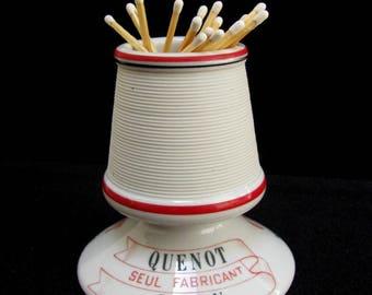 Cassis Quenot Match Striker Holder 1900's French Pyrogene Matchstrike Red White Ceramic Porcelain Barware Tobacciana Paris Cafe Advertising