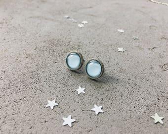 Baby blue stud earrings by CuteBirdie