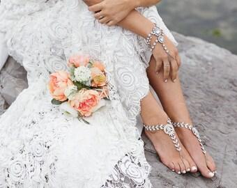 Celeste barefoot sandals rhinestone anklet bottomless sandals soleless sandals bridal shoes beach wedding sandals wedding shoes boho bride
