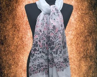 Women Vintage Floral Cotton blend Scarf Muffler Free size